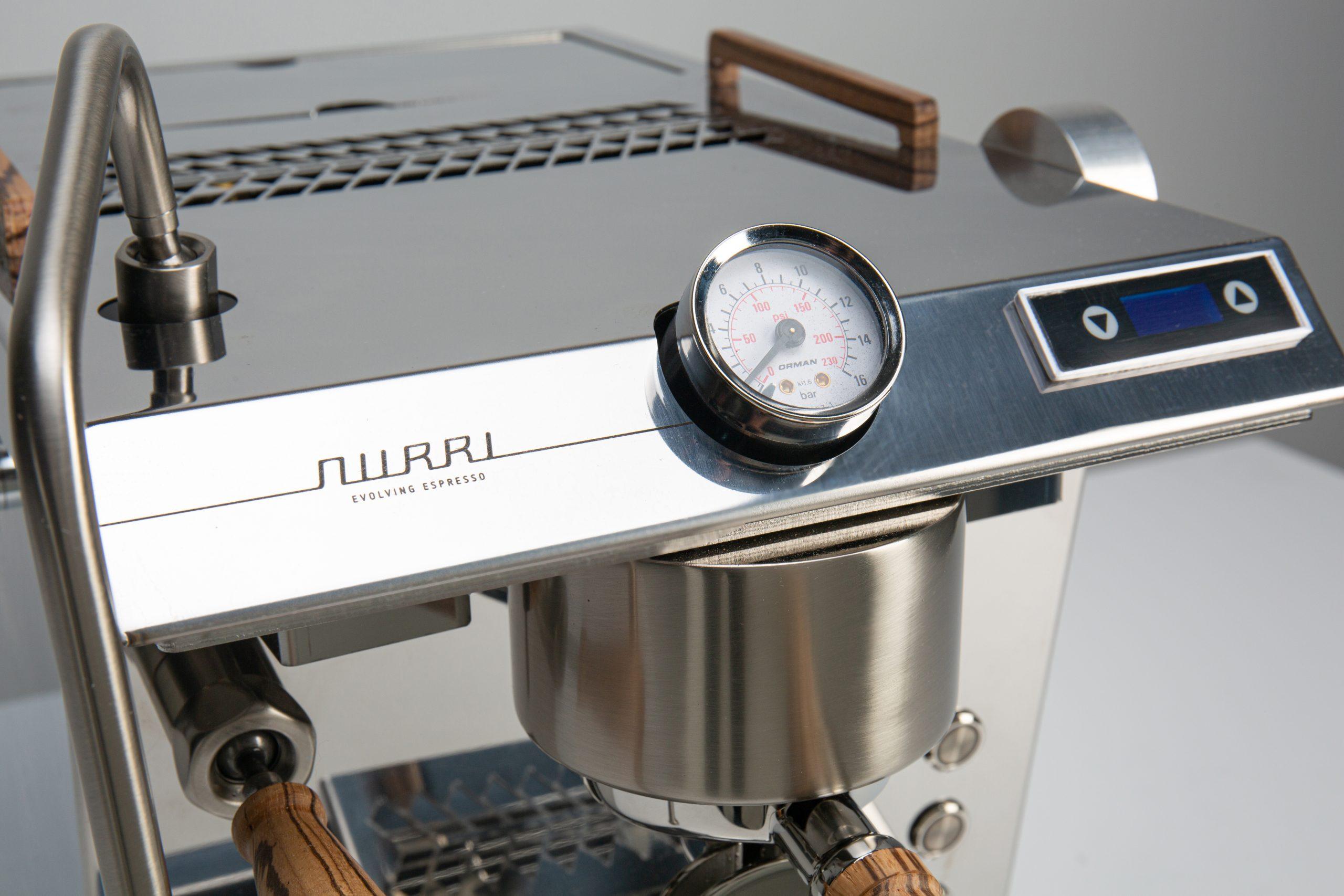 Nurri GTO espresso machine detail silver